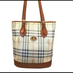 BURBERRY Classic Vtg. Plaid Bucket Bag Tan Leather